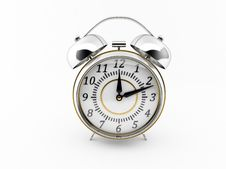Classic Chrome Alarm Clock. Stock Photos
