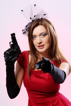 Attractive And Sexy Spy Woman With Pistol Royalty Free Stock Images