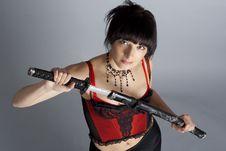 Free Woman In The Studio With Samurai Sword Stock Photo - 18218020