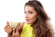 Free Woman With Fresh Cup Of Tea Royalty Free Stock Photography - 18218277