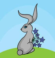 Free Grey Hare With Blue Flowers Royalty Free Stock Images - 18218889