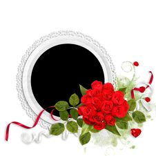 White Frame With Red Roses On The White Background Royalty Free Stock Image