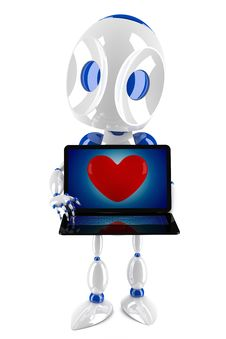 Free 3d Robot Loving Internet Royalty Free Stock Photo - 18219635
