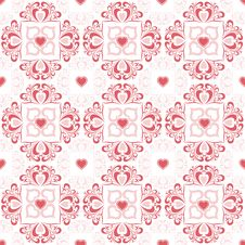 Free Valentine S Hearts And Floral Pattern Royalty Free Stock Images - 18219639