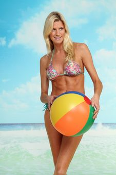 Free Blonde Woman With Beach Ball Stock Image - 18219721
