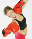 Free Woman With Boxing Gloves Royalty Free Stock Image - 18223016