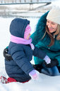 Free Mother And  Kid Having Fun Outdoors On  Winter Day Stock Photography - 18228062