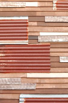 Mixed Wall, Zinc And Wood Stock Photography