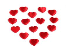 Heart Shape From Many Small Red Hearts Stock Images
