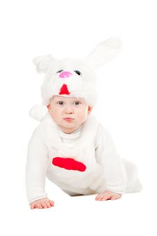 Free Little Beautiful Boy In Rabbit Costume With Carrot Royalty Free Stock Image - 18220626