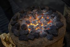 Charcoal Stove Burning Hot Royalty Free Stock Photography