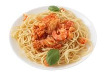 Free Spaghetti With Codfish And Shrimps Stock Images - 18221274