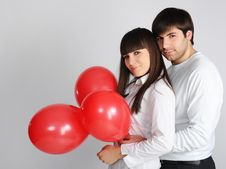 Free Young Love Couple With Red Balloons Stock Photography - 18221562