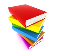 Books Multicolor In Pile Top View Royalty Free Stock Photos