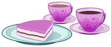 Free Coffee And Tea Cups With Cake Royalty Free Stock Photography - 18221607