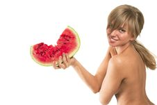 Woman With The Water Melon Stock Image