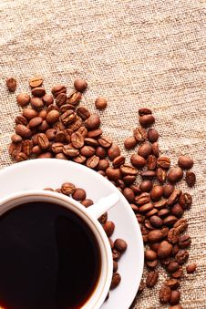 Free Coffee Cup And Grain Onon A Fabric. Still-life Royalty Free Stock Photos - 18222078