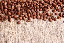 Free Grains Of Coffee On A Fabric Stock Photography - 18222142