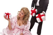 Free Victorian Couple With Gift Boxes Stock Photos - 18222233