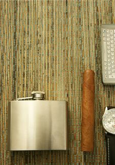 Free Cigar, Hip-flask, Watch, Phone Stock Photo - 18222290