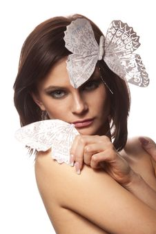 Free Woman With A White Butterfly Royalty Free Stock Photo - 18222325