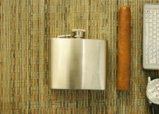Free Cigar, Hip-flask, Watch, Phone Royalty Free Stock Photography - 18222347