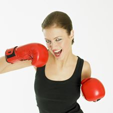 Free Woman With Boxing Gloves Royalty Free Stock Photography - 18223017