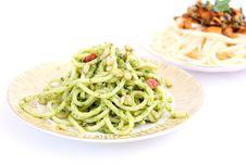 Spaghettis With Pesto Royalty Free Stock Photos