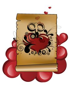 Parchment Heart Groovy Stock Photo