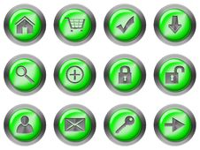 Free Web Round Buttons Green Stock Photo - 18223810