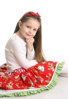 Free Cute Little Girl In Christmas Wear Royalty Free Stock Photography - 18224047