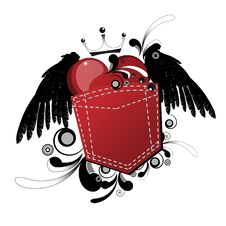 Free Winged Heart Pocket Royalty Free Stock Photos - 18224118