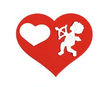 Free White Cupid On Large Red Heart Stock Photography - 18224472
