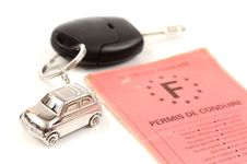 Key Car With Little Key Ring In Car S Shape Royalty Free Stock Photos