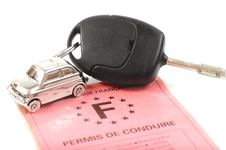Key Car With Little Key Ring In Car S Shape Royalty Free Stock Photography