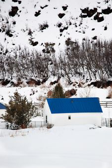 Free Barn With Blue Roof In Winter Landscape Stock Photos - 18224593