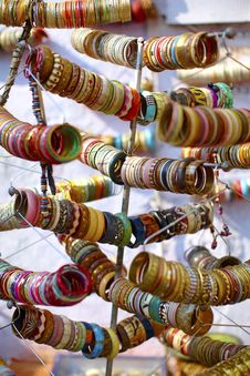 Free Bangles Ornaments On The Market In India Stock Photography - 18225102