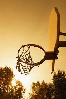 Free Sunset On The Basketball Court Stock Images - 18225114