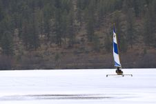 Ice Boating On Frozen Lake Stock Photography