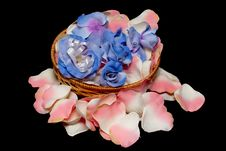 Free Basket With Flowers On Rose Textile Petals Royalty Free Stock Image - 18225456