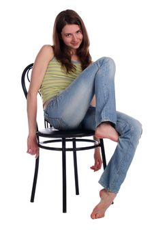 Girl Sit On Stool Truck Up Leg. Royalty Free Stock Image