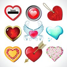 Set Jn Nine Hearts Royalty Free Stock Photography
