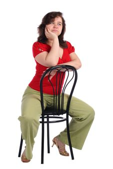 Free Chubby Girl Sits On Stool Dreaming. Stock Photo - 18225920