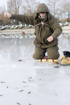 Fisherman. Ice Fishing Competition Stock Photos