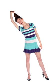 Free Girl In Stripy Blue Dress Pull Her Hairs. Royalty Free Stock Images - 18226109