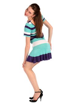Free Girl In Stripy Blue Dress Dancing Half-turned. Royalty Free Stock Images - 18226139