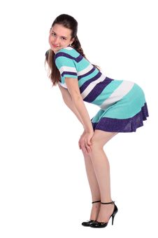 Free Girl In Stripy Blue Dress Bend Forward Side-view. Stock Photo - 18226160