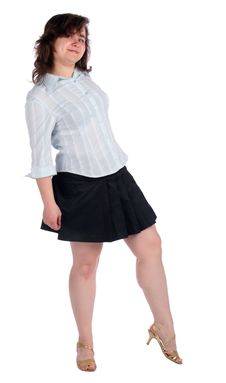 Free Chubby Girl In White Shirt And Black Skirt. Royalty Free Stock Photos - 18226198