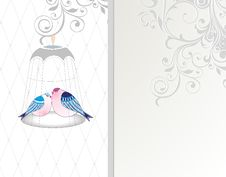 Vintage Card With Birds Royalty Free Stock Image