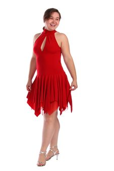 Free Chubby Girl In Red Dress Dancing Royalty Free Stock Images - 18226929